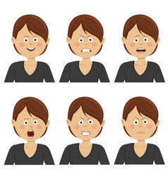 businesswoman with various avatar expressions set vector image vector image