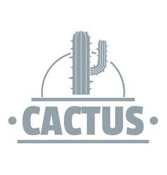 Cactus logo simple gray style vector