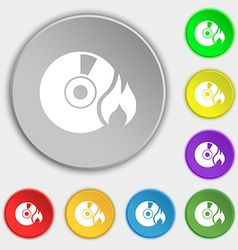 CD icon sign Symbol on eight flat buttons vector image vector image