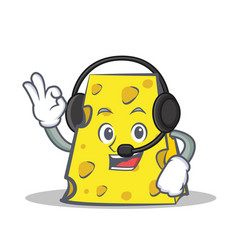 Cheese character cartoon style with headphone vector