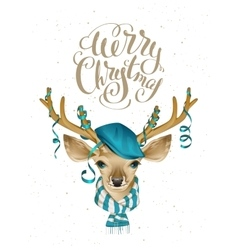 Christmas deer head in blue fashionable hat and vector