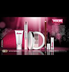 Cosmetic set ads template mascara and eye shadows vector