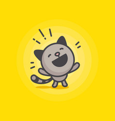 Cute cat logo on a yellow background vector