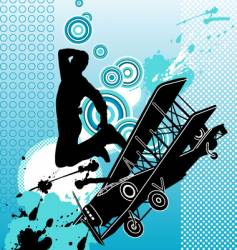 dancer with airplane vector image vector image