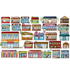 Different shops and buildings vector image vector image