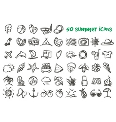 Doodle summer icons set vector