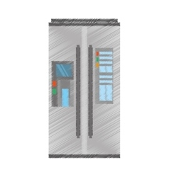 Drawing refrigerator appliance kitchen domestic vector
