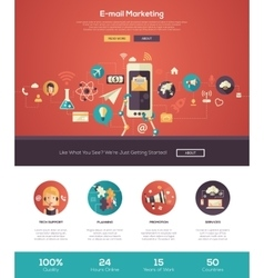 E-mail marketing website header banner with vector