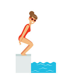Female swimmer jumping in swimming pool active vector