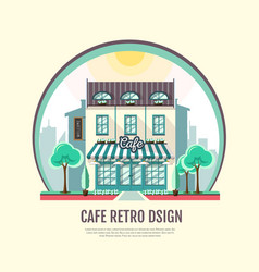 flat style icon design of cafe building vector image