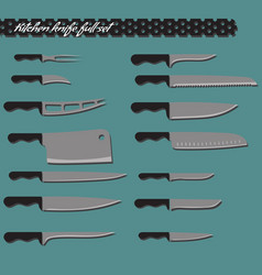 full set kitchen knives vector image vector image
