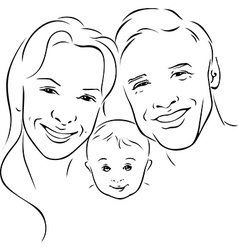 happy family - black outline vector image vector image