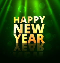 happy new year golden text in greeting bokeh vector image
