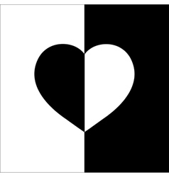 Heart on two color monochrome background t shirt vector image vector image