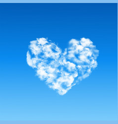 heart shaped cloud in blue sky vector image vector image