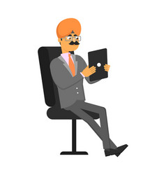 Indian businessman with tablet computer vector