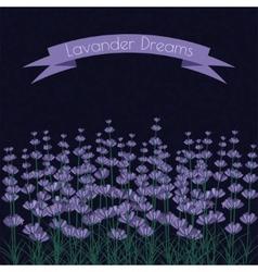 Lavender sprigs on the dark ink spots background vector