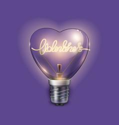 Light bulb heart shaped on violet background vector