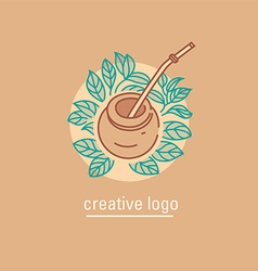 Logo on tea traditions tea leaves and tea mate vector