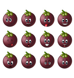 Mangosteen with different emoticon vector