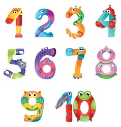 Numbers like robots in fairy style vector