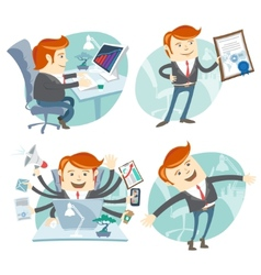Office man hipster set showing a diploma happy vector