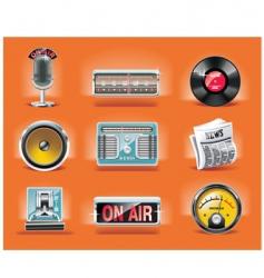 Radio icon set vector