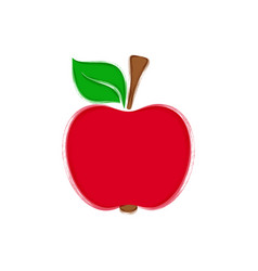 Red apple with leaf vector