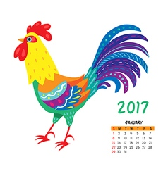 Roosters calendar january vector
