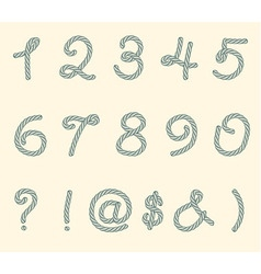 Set of rope font symbols and numbers vector image