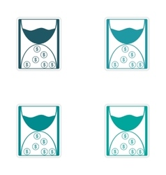 Set of stylish sticker on paper hourglass and vector