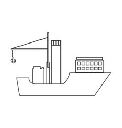 Silhouette boat cargo with crane vector