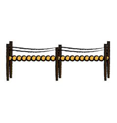 small bridge wooden fantasy fairy tale element vector image
