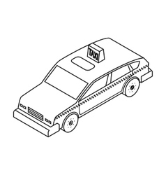 Taxi car icon in outline style isolated on white vector image vector image