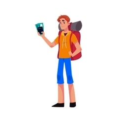 Young traveler backpacker hitchhiker holding vector image