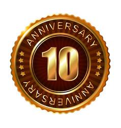 10 years anniversary golden brown label vector image vector image
