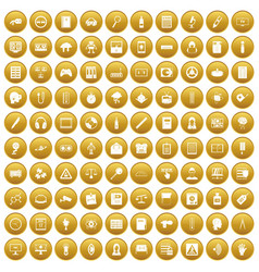 100 information icons set gold vector