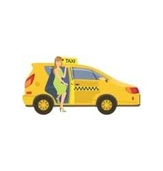 Woman entering a yellow taxi car vector