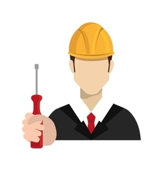 Avatar worker holding a screwdriver tool vector