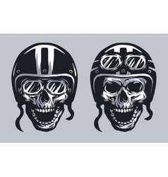 Skull biker in helmet and glasses vector