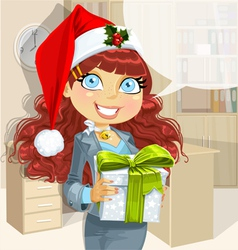 Christmas Office Lady vector image