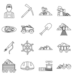 Miner icons set outline style vector