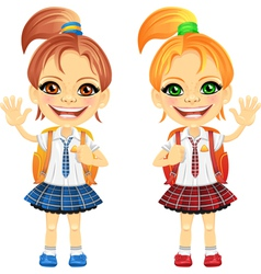 Happy girls in a school uniform vector
