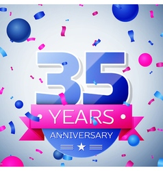 Thirty five years anniversary celebration on grey vector