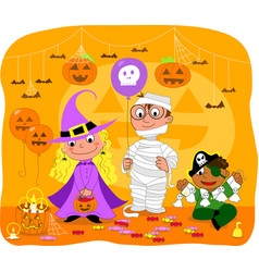children at halloween party vector image