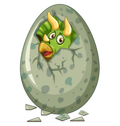 Dinosaur comes out of gray egg vector
