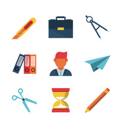white background with study icons vector image