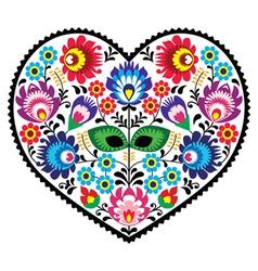 Polish folk art art heart embroidery with flowers vector image