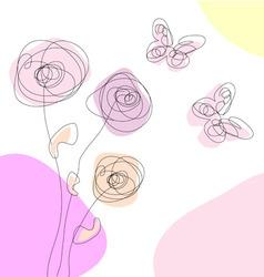 Dandelions and butterflies vector