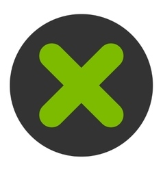 Cancel flat eco green and gray colors round button vector